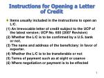 instructions for opening a letter of credit