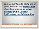 elementos de un producto
