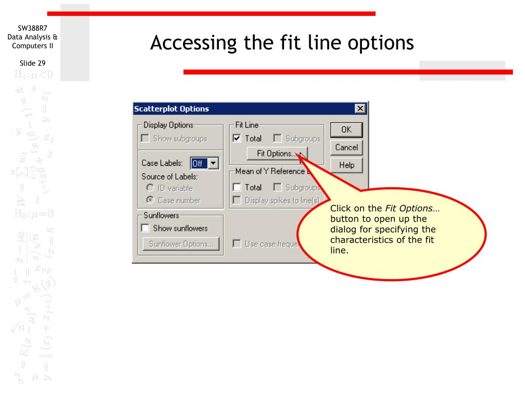 Accessing the fit line options