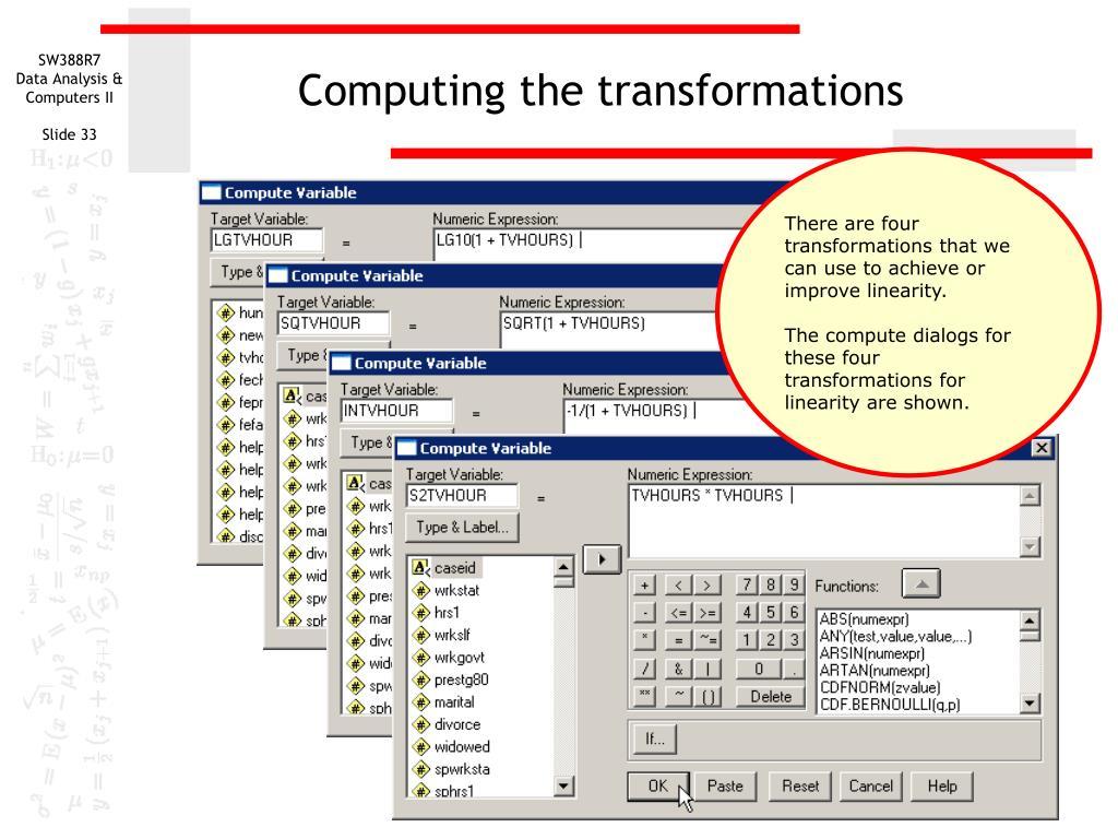 Computing the transformations