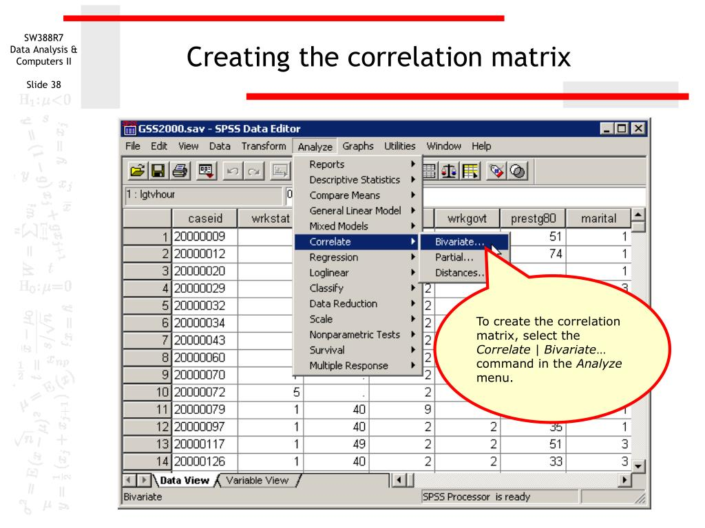 Creating the correlation matrix