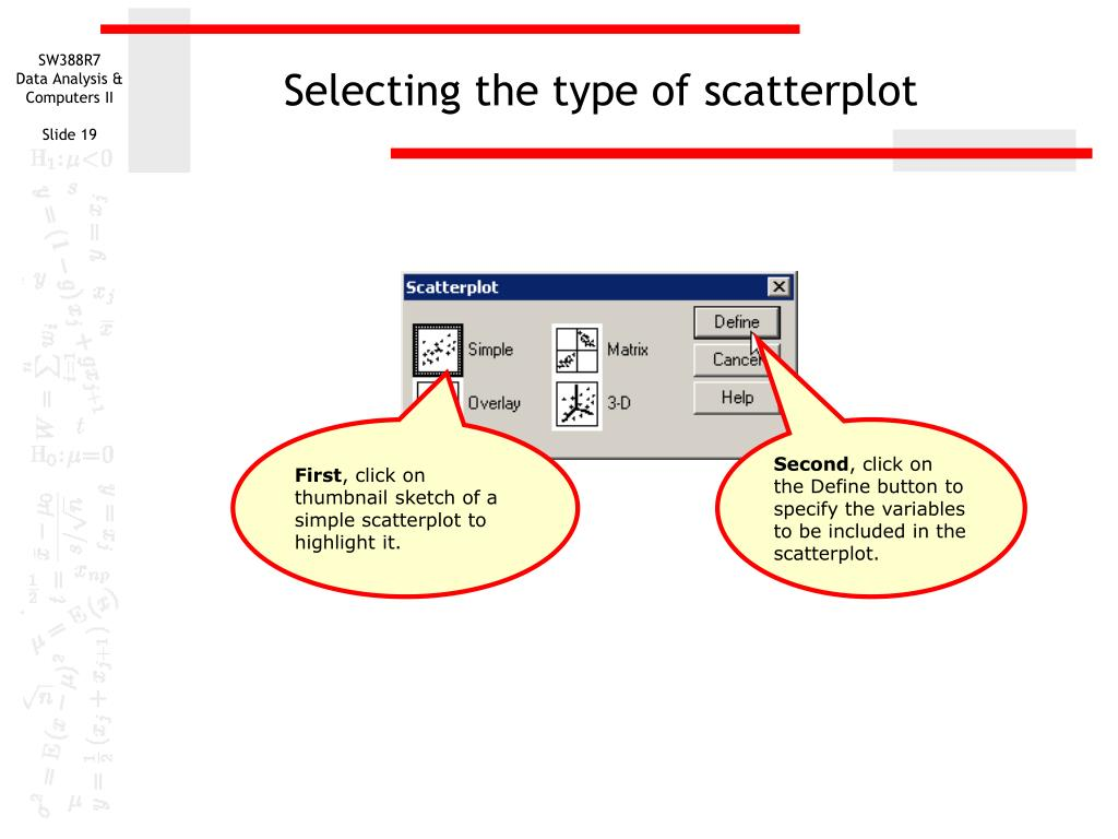 Selecting the type of scatterplot