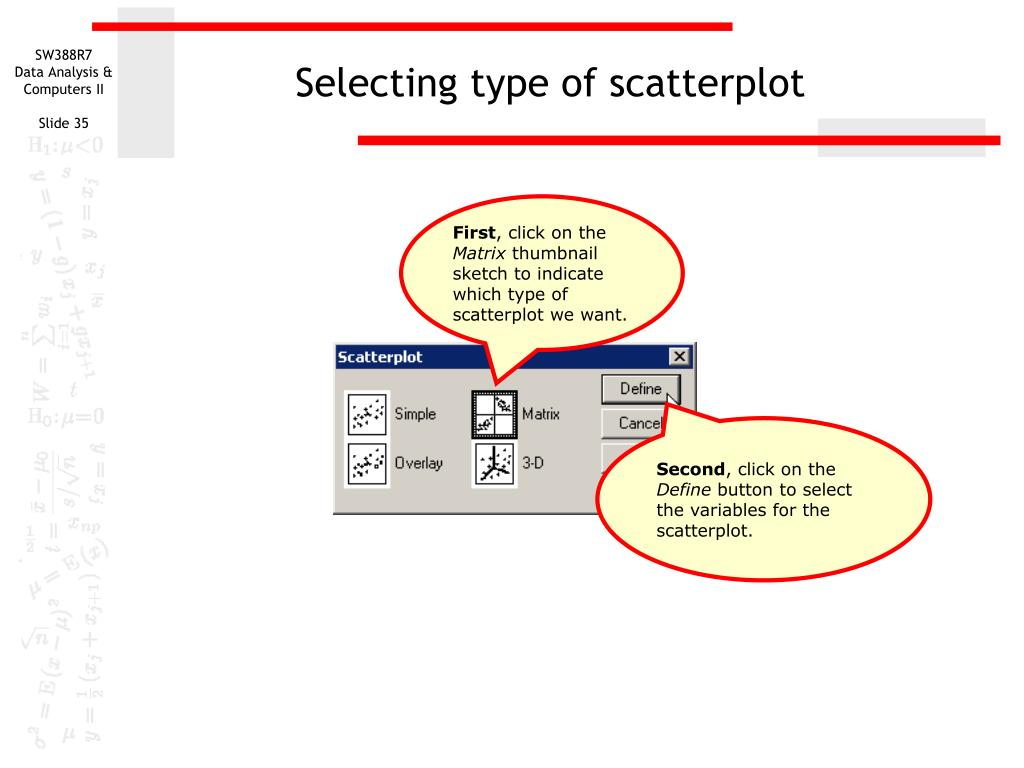 Selecting type of scatterplot