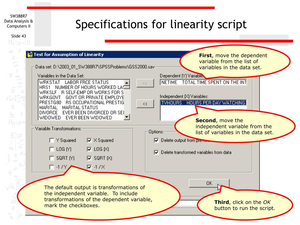 Specifications for linearity script