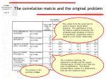 the correlation matrix and the original problem
