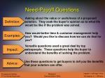 need payoff questions