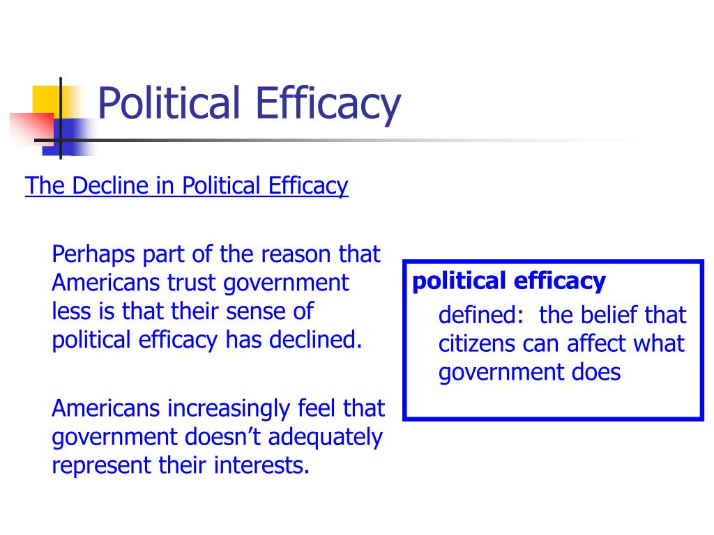 The Decline in Political Efficacy