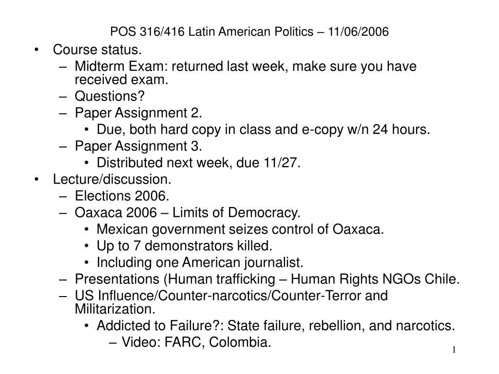 pos 316 416 latin american politics 11 06 2006 l.