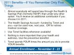 2011 benefits if you remember only five things