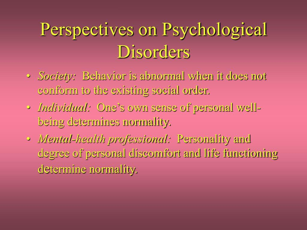 perspectives on psychological disorders l.