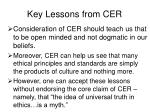 key lessons from cer