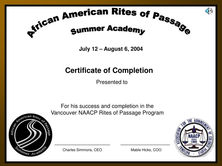 African American Rites of Passage