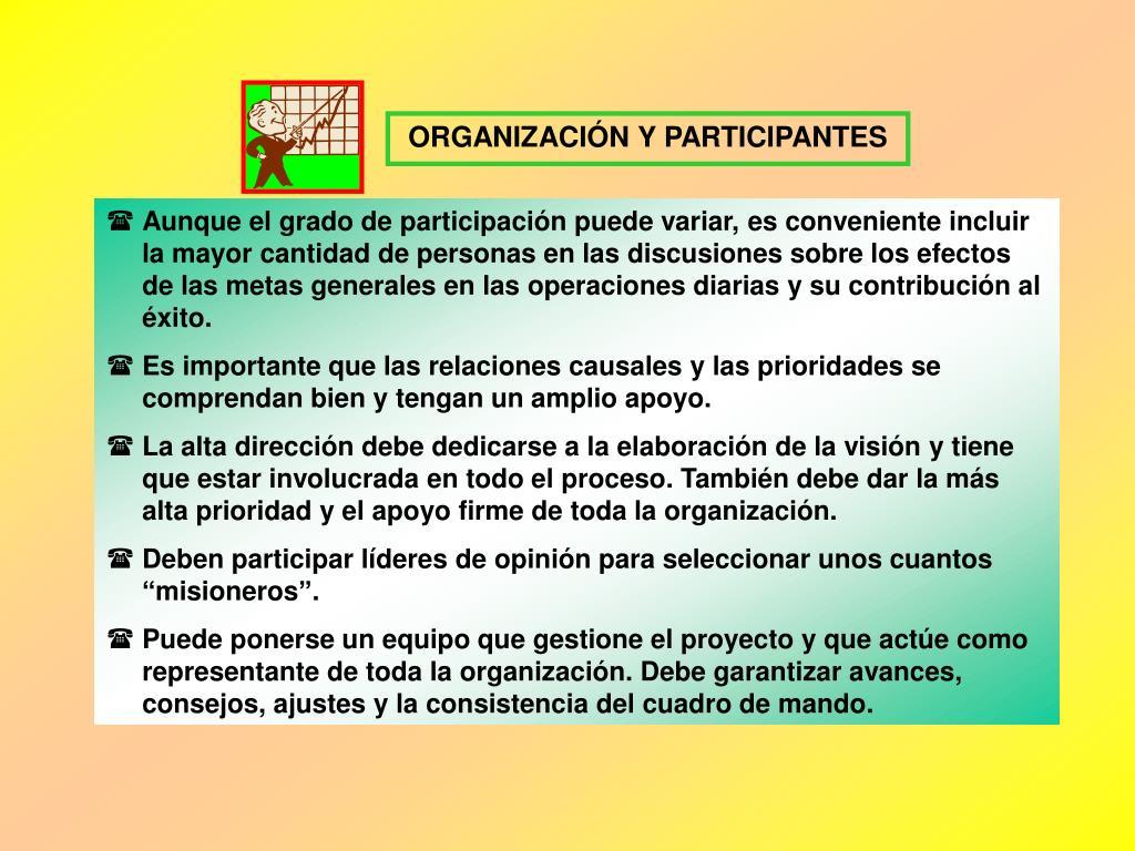 ORGANIZACIÓN Y PARTICIPANTES