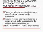 primeiro n vel de evolu o intera o est mulo hospedeiro rouquayrol 2003