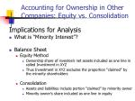 accounting for ownership in other companies equity vs consolidation