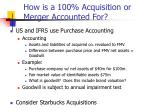 how is a 100 acquisition or merger accounted for