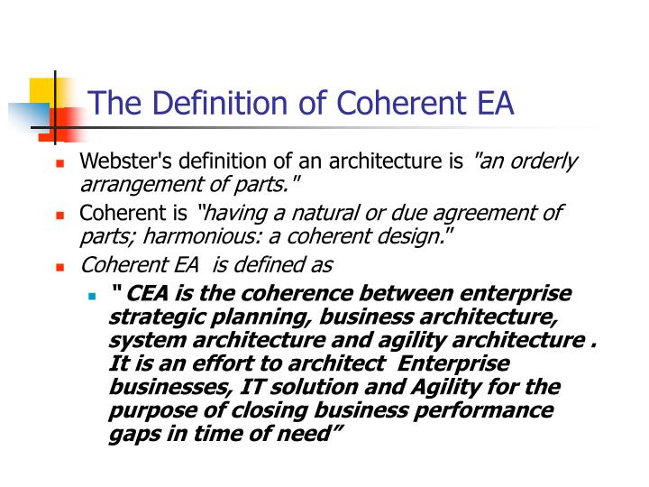 Ppt coherent ea and segment architecture powerpoint for Anarchitecture definition
