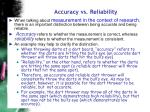 accuracy vs reliability