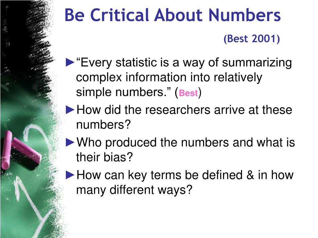 Be Critical About Numbers