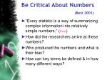 be critical about numbers best 2001