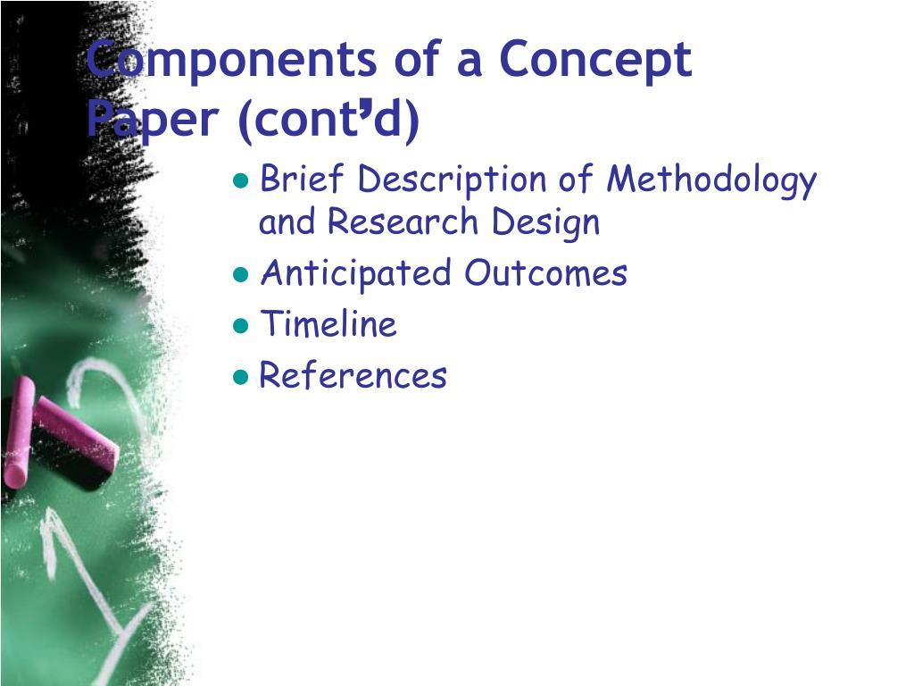 Components of a Concept Paper (cont