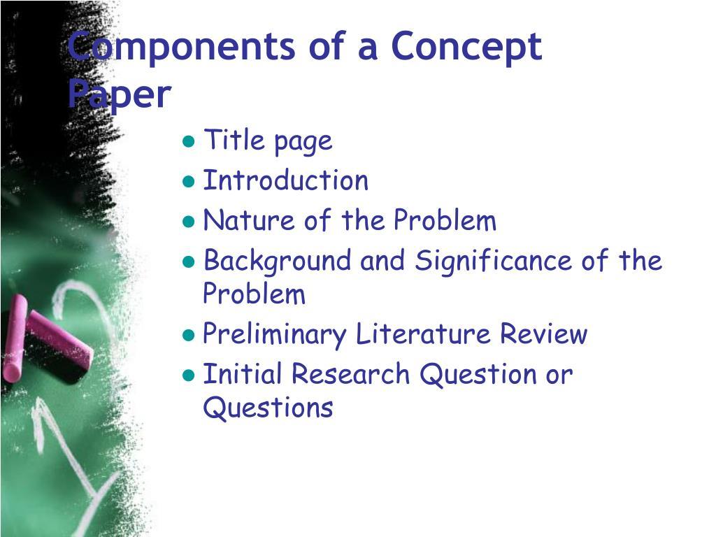 Components of a Concept Paper