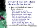 creswell s 5 steps to conduct a literature review cont d65