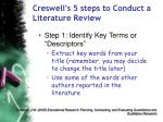 creswell s 5 steps to conduct a literature review