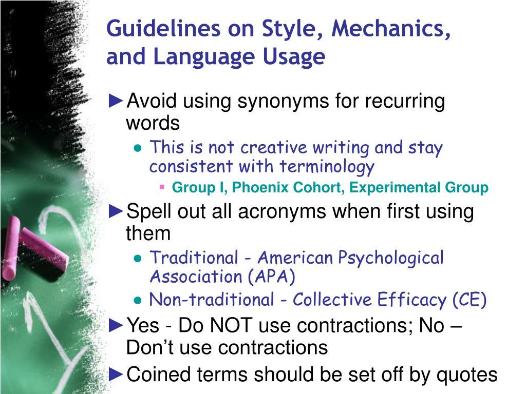 Guidelines on Style, Mechanics, and Language Usage