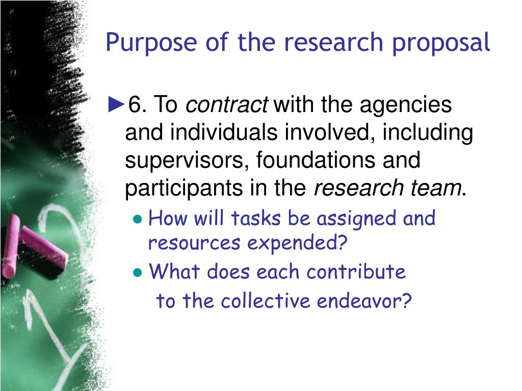 Purpose of the research proposal