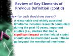 review of key elements of previous definition cont d58