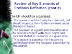 review of key elements of previous definition cont d59