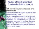 review of key elements of previous definition cont d60