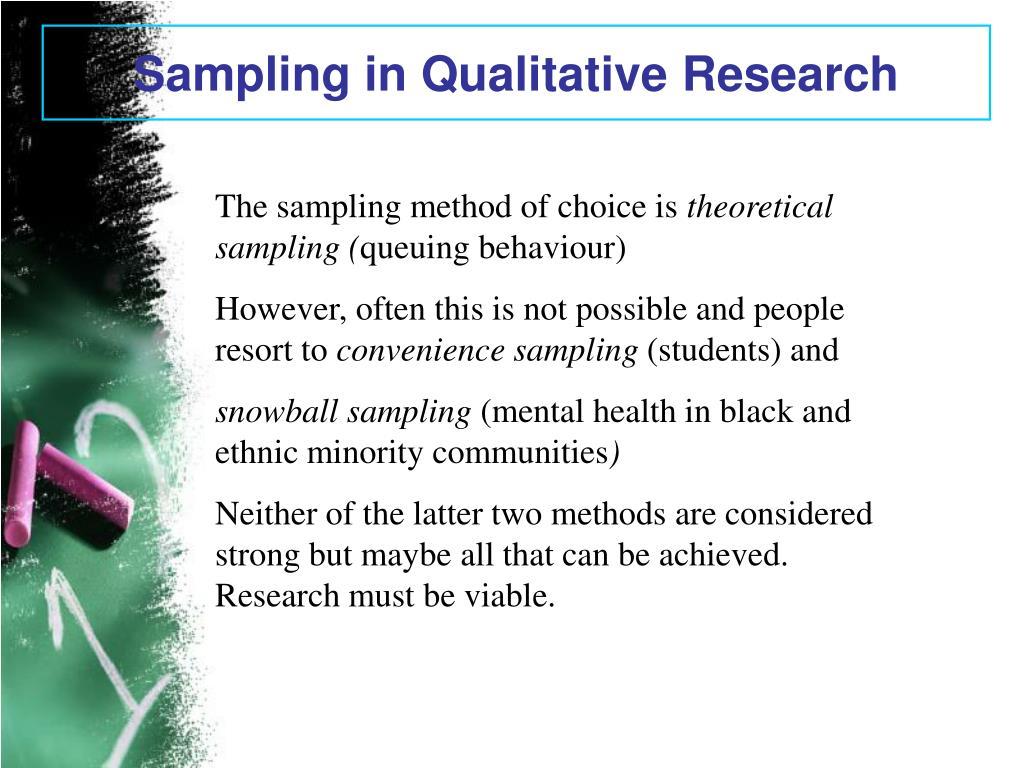 Sampling in Qualitative Research