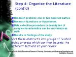 step 4 organize the literature cont d