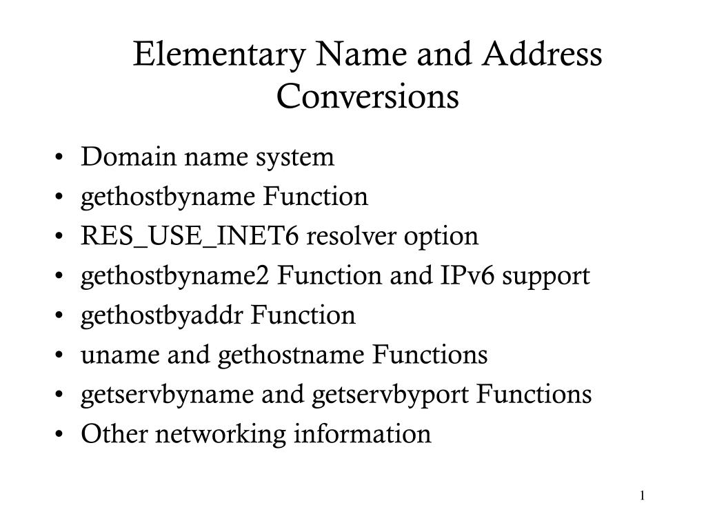 elementary name and address conversions l.