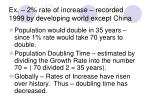 ex 2 rate of increase recorded 1999 by developing world except china
