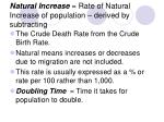 natural increase rate of natural increase of population derived by subtracting
