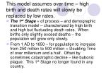 this model assumes over time high birth and death rates will slowly be replaced by low rates