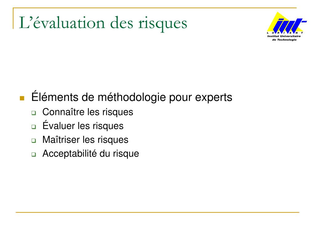 l valuation des risques l.