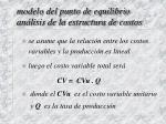 modelo del punto de equilibrio an lisis de la estructura de costos
