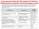 assessments that can be used to fulfill the performance criterion at the secondary level