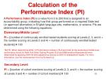 calculation of the performance index pi