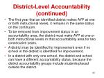 district level accountability continued