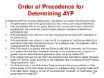 order of precedence for determining ayp