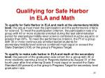 qualifying for safe harbor in ela and math