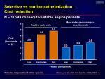 selective vs routine catheterization cost reduction