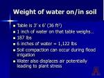 weight of water on in soil