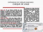 categorias de cheques bancario cheque de viaje
