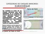 categorias de cheques bancario eurocheque